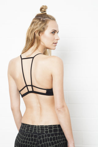 Cross Back Bra - Sports Bra - Cream Black Giraffe