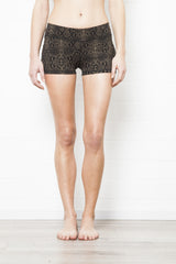 Yoga Hotpants - Green Black Snake - Beach Shorts - FUNKY SIMPLICITY