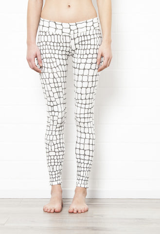 Crocodile Off White Leggings Tight - FUNKY SIMPLICITY
