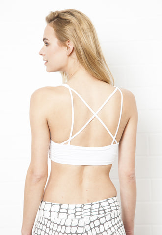 Cross-back Sporty Bra Top - White - FUNKY SIMPLICITY
