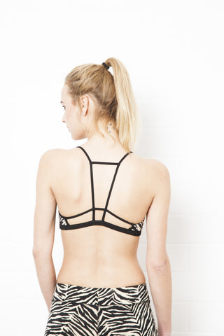 String Back Black Crop Bra