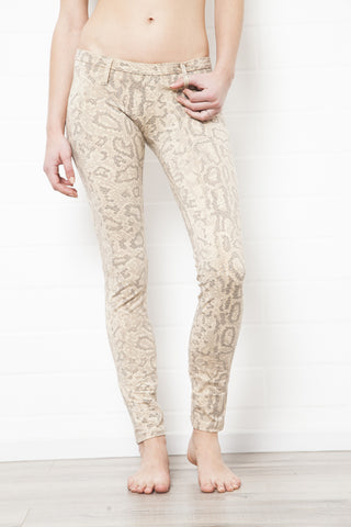 Lycra Jeans Tights Snake Cream Brown