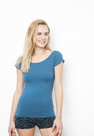 Cut Back Turquoise Top - FUNKY SIMPLICITY