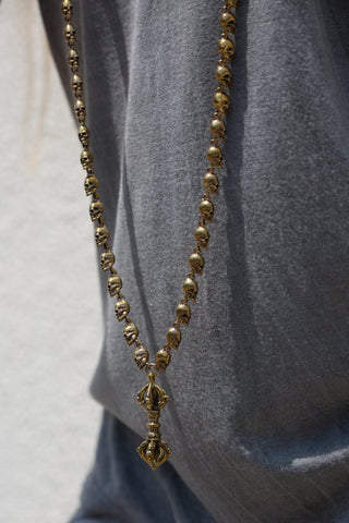KALI MALA - Brass Skull Necklace - Hand-made 108 beads - Tibetan