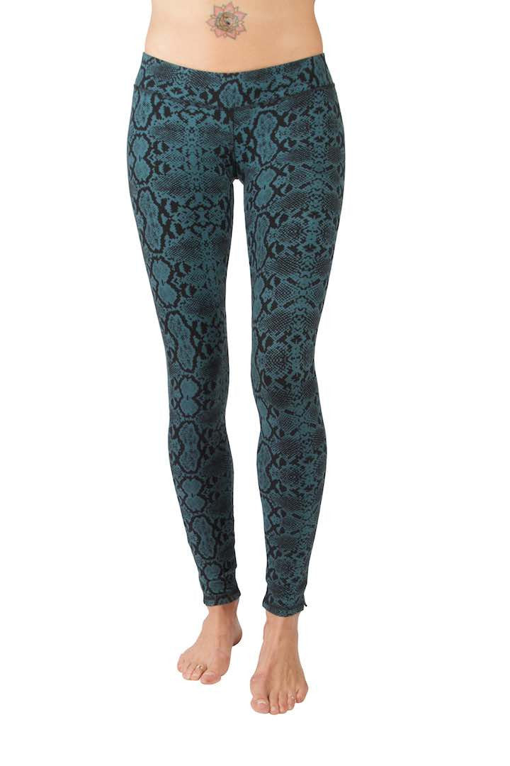 Snake Seagreen Black Leggings Tight - FUNKY SIMPLICITY