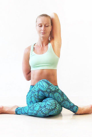 Butterfly Turquoise Green Leggings Tight - FUNKY SIMPLICITY