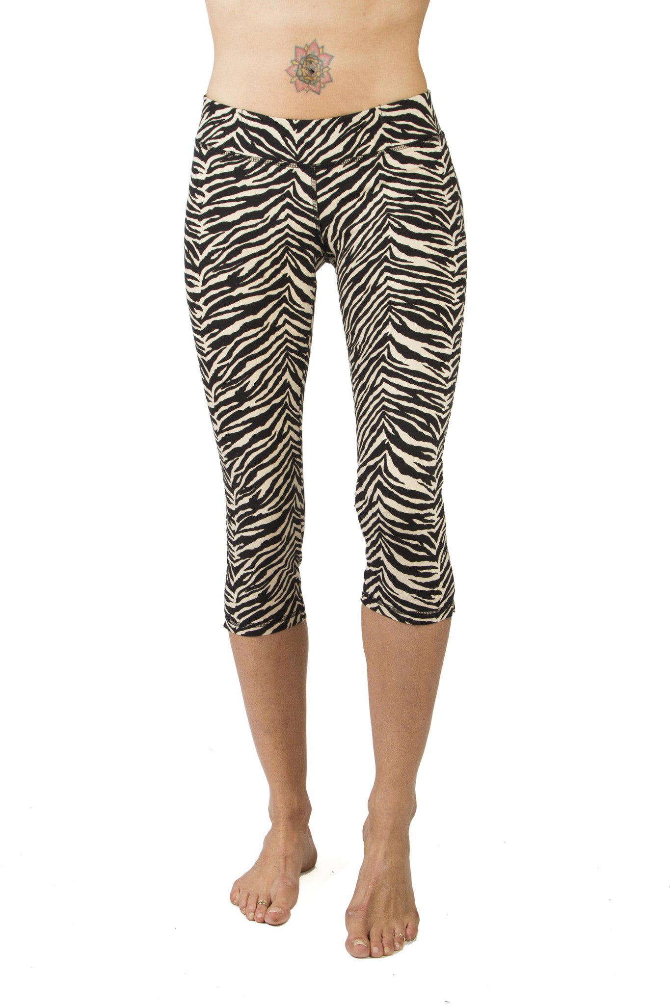 Capri Tights - Zebra Cream Black - FUNKY SIMPLICITY