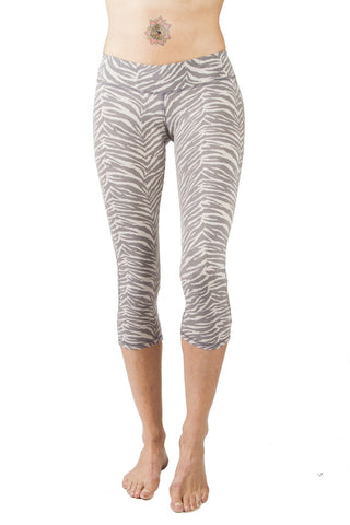 Yoga Hotpants - Grey Zebra - Beach Shorts