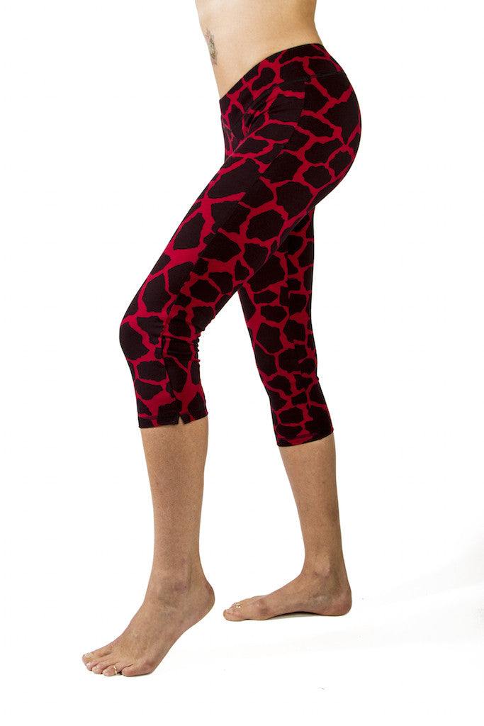 Yoga Capri Pants - Red Black Giraffe - FUNKY SIMPLICITY