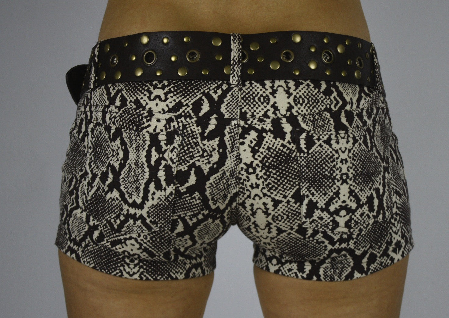 Lycra Jeans Hotpants - Cream Brown Snake - FUNKY SIMPLICITY