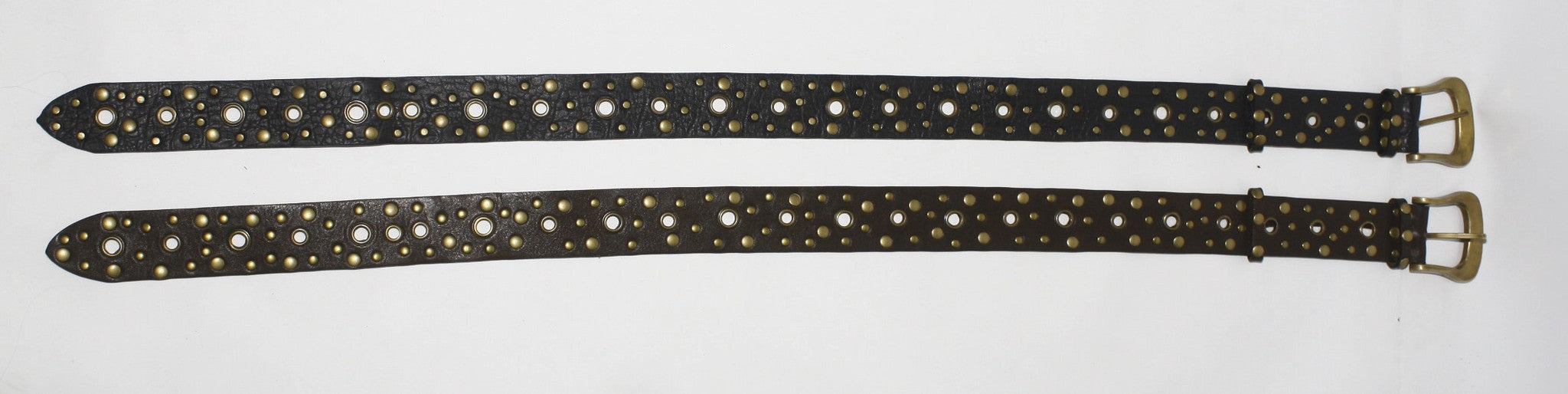 Black Leather Belt - Hand Studded Leather - FUNKY SIMPLICITY
