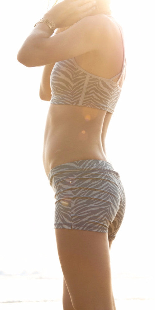 Yoga Hotpants - Grey Zebra - Beach Shorts - FUNKY SIMPLICITY