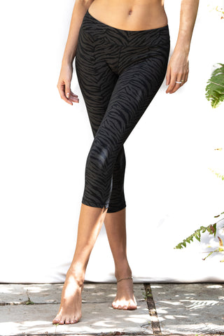 Black Zebra Capri Leggings close up front
