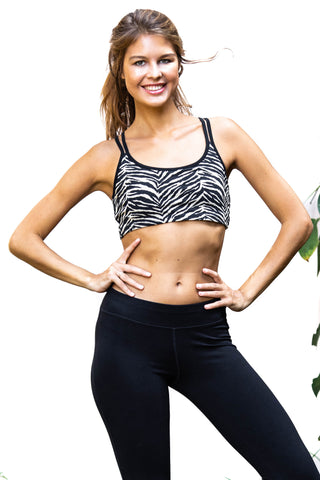Cross Back Bra - Sports Bra - Cream Black Zebra