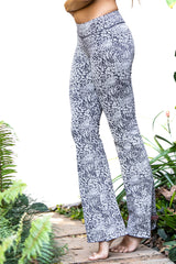 Flared Leggings - Charcoal discharge Leopard - FUNKY SIMPLICITY