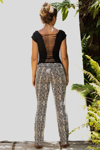 Flared leggings - Snake Cream Brown - FUNKY SIMPLICITY