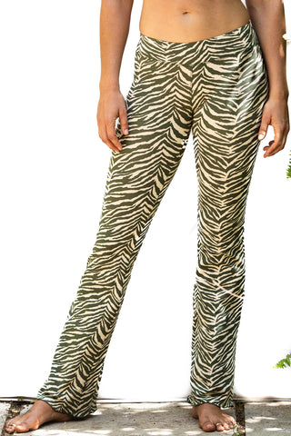 Flared leggings - Zebra Cream Olive Green - FUNKY SIMPLICITY