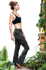 Flared Leggings - Olive Green Black Leopard - FUNKY SIMPLICITY