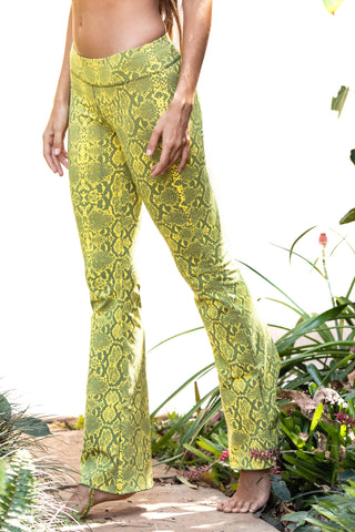 Flared leggings - Snake Yellow Grey - FUNKY SIMPLICITY