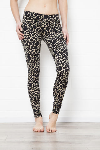 Leggings Olivegreen Black Giraffe