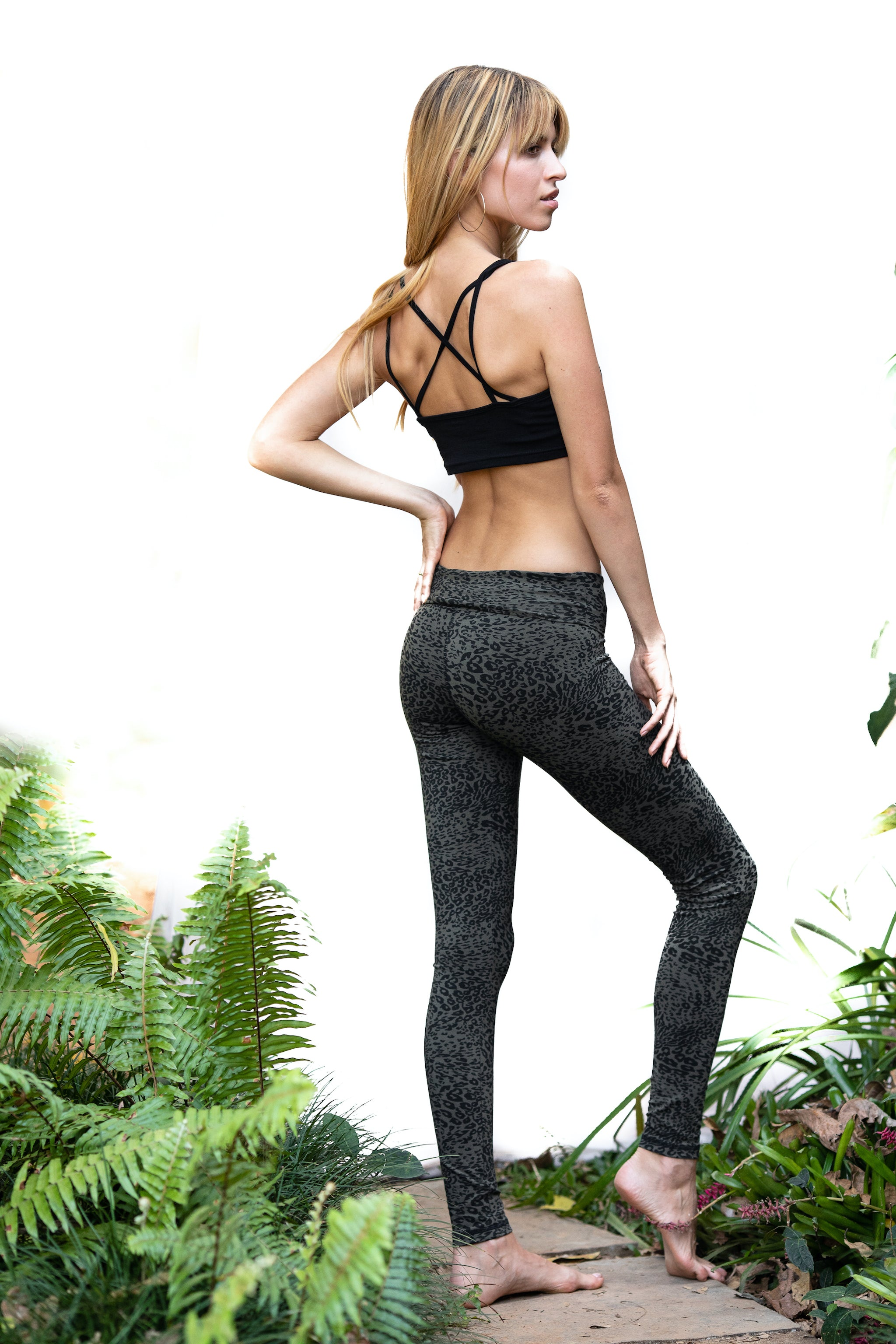 Super High Waist Leggings Tights - Olive Leopard