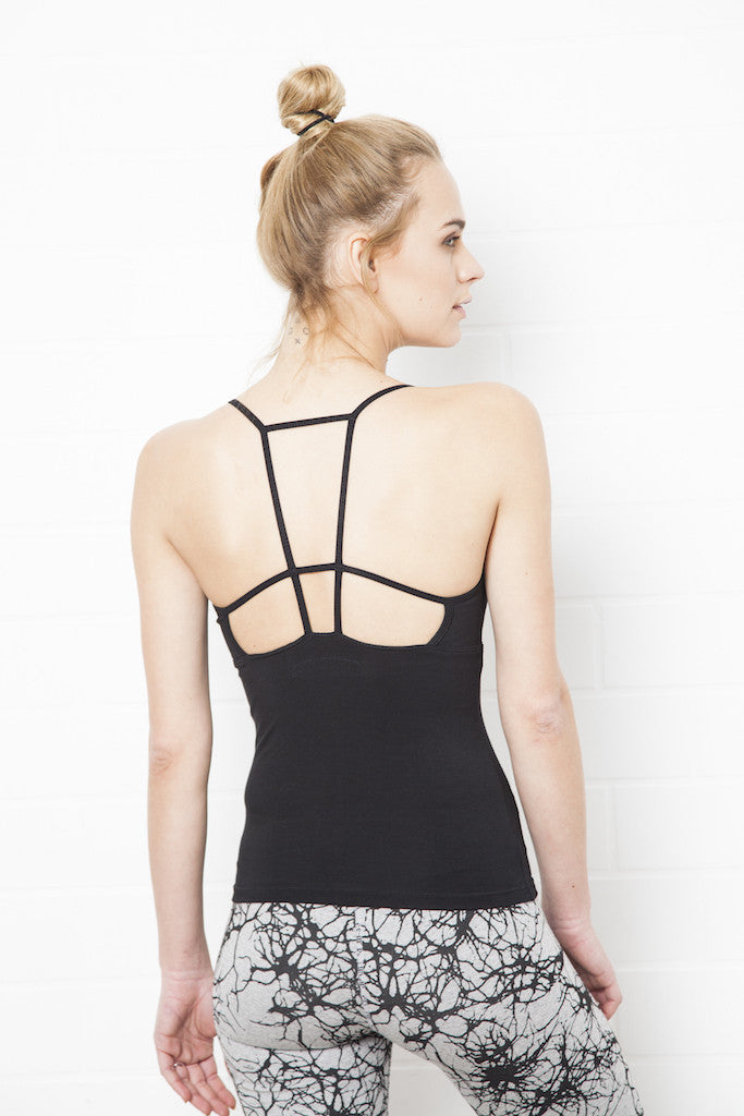 String Back Top Long - Black - FUNKY SIMPLICITY
