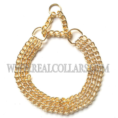 2 Rows of Gold colored Chain Collar