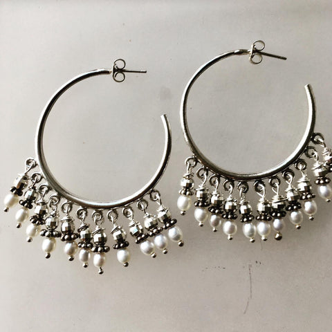 Large Hoops with Pearls