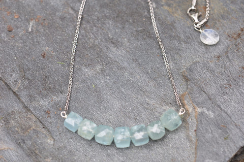 Medium Aquamarine Bar Necklace