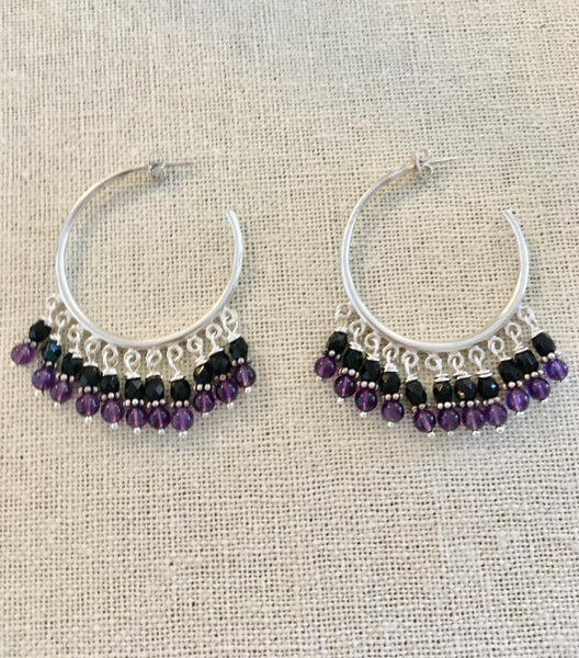 Large Hoops with Amethyst & Black Spinel