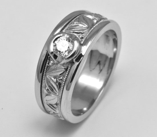 Matching 19k Hand Engraved Wedding Bands