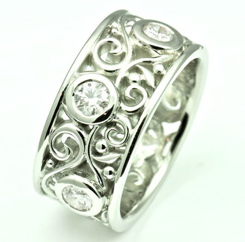 Flowing Filigree Wedding Band