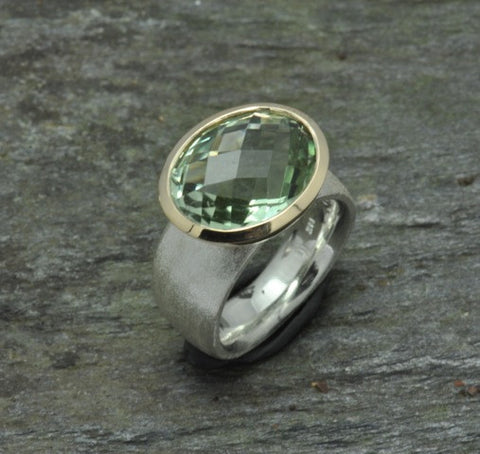Green Amethyst, 18K & Sterling Ring
