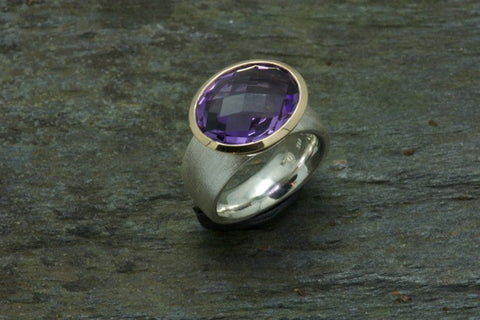 Oval Amethyst, 18k & Sterling Ring