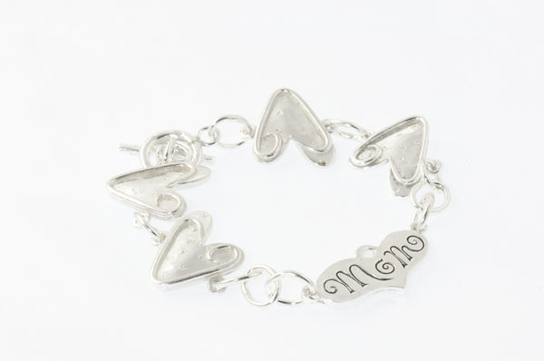 Mom & Heart Sterling Silver Bracelet