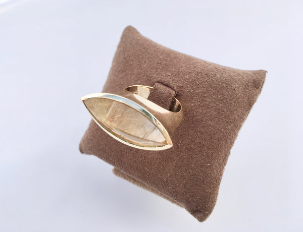 Striking Rutilated Quartz 14K Yellow Gold Ring- Urban Goddess