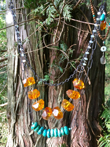 Baltic Natural Amber and Faceted Turquoise Necklace