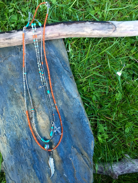 Three Strands of Layered Necklaces/Carnelian,Turquoise and Labradorite necklaces