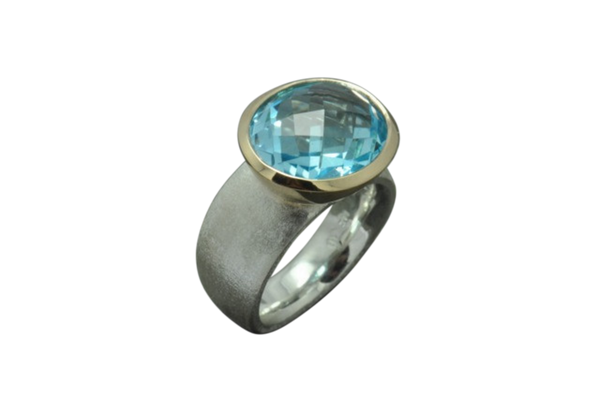 Blue Sky Topaz 18k & Sterling Ring