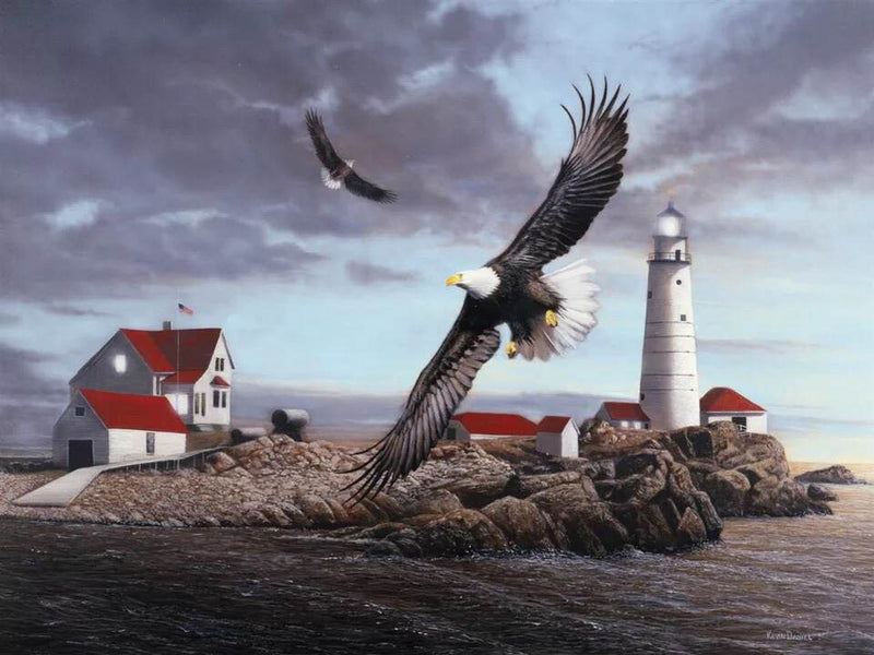 "Bei Bi La 1000 Piece Jigsaw Puzzle ""Lighthouse and Eagle"""