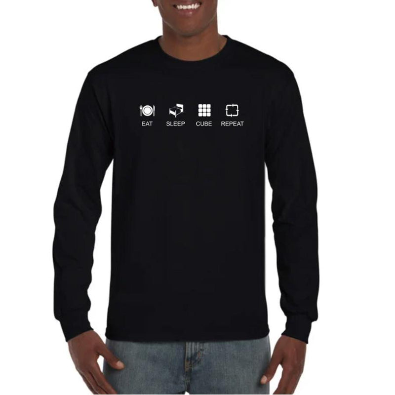 Eat Sleep Cube Repeat Heavyweight Longsleeve T-Shirt