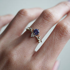 Tanzanite Ivy Diamond Pearl Ring - Tippy Taste Jewelry