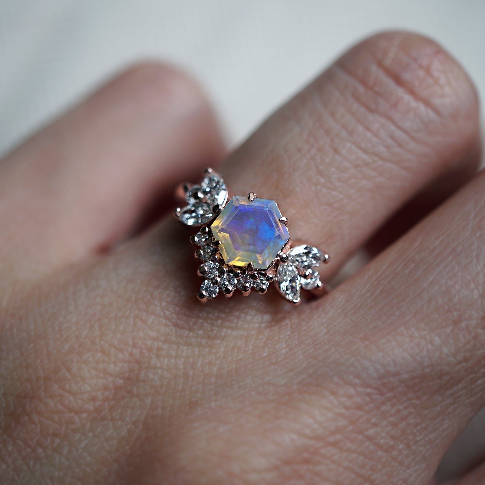 Hexagon Opal Butterfly Diamond Ring