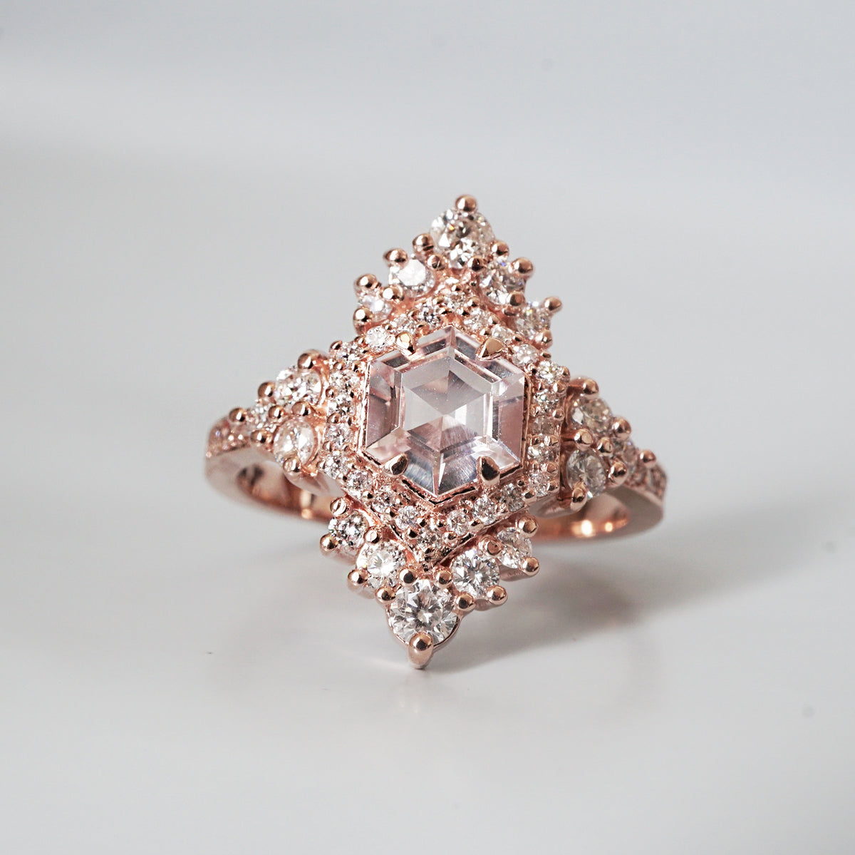 Chandelier Morganite Diamond Ring - Tippy Taste Jewelry