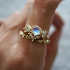 Hexagon Moonstone Butterfly Diamond Ring - Tippy Taste Jewelry