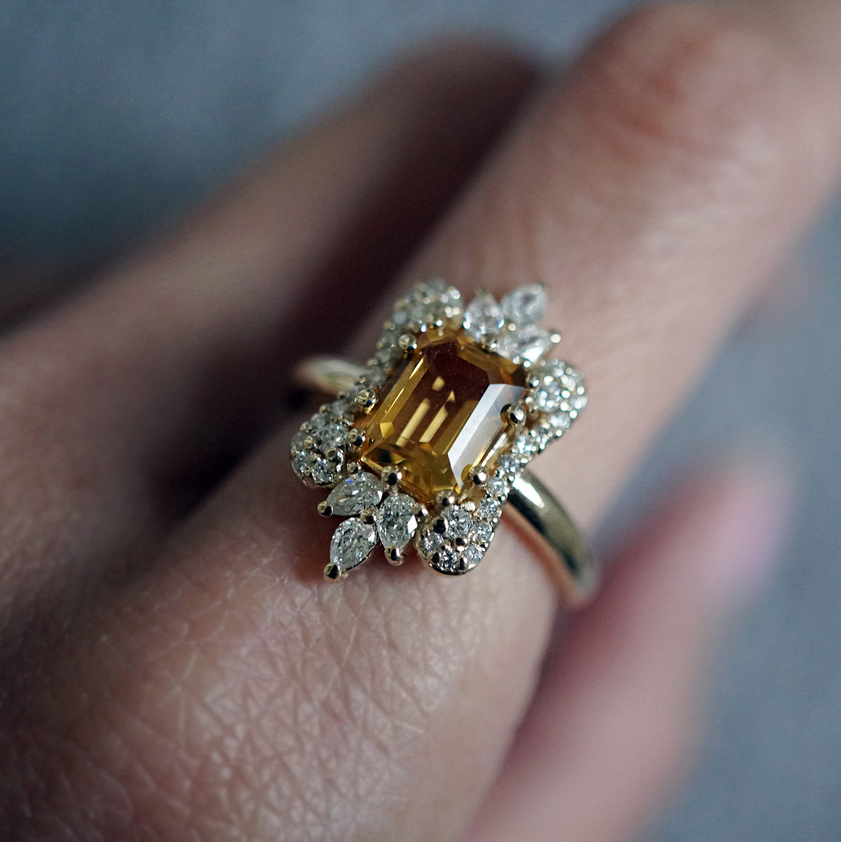 Eleanor Diamond Ring (Citrine/Morganite) - Tippy Taste Jewelry