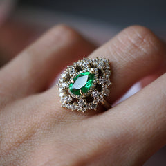 Forest Queen Emerald Diamond Ring - Tippy Taste Jewelry
