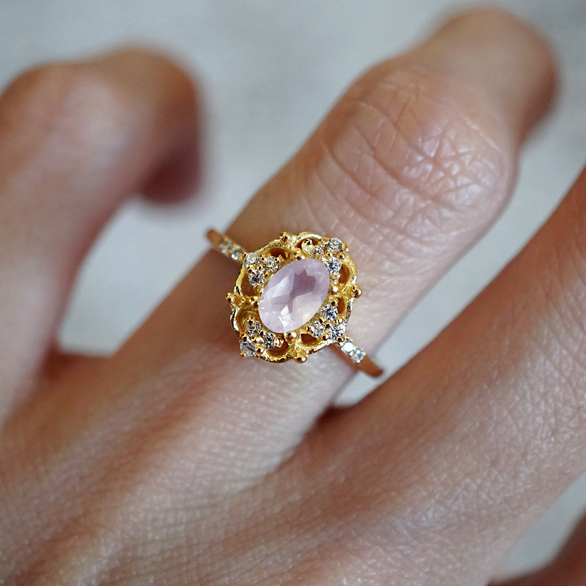 Cosmic Rose Quartz Ring - Tippy Taste Jewelry