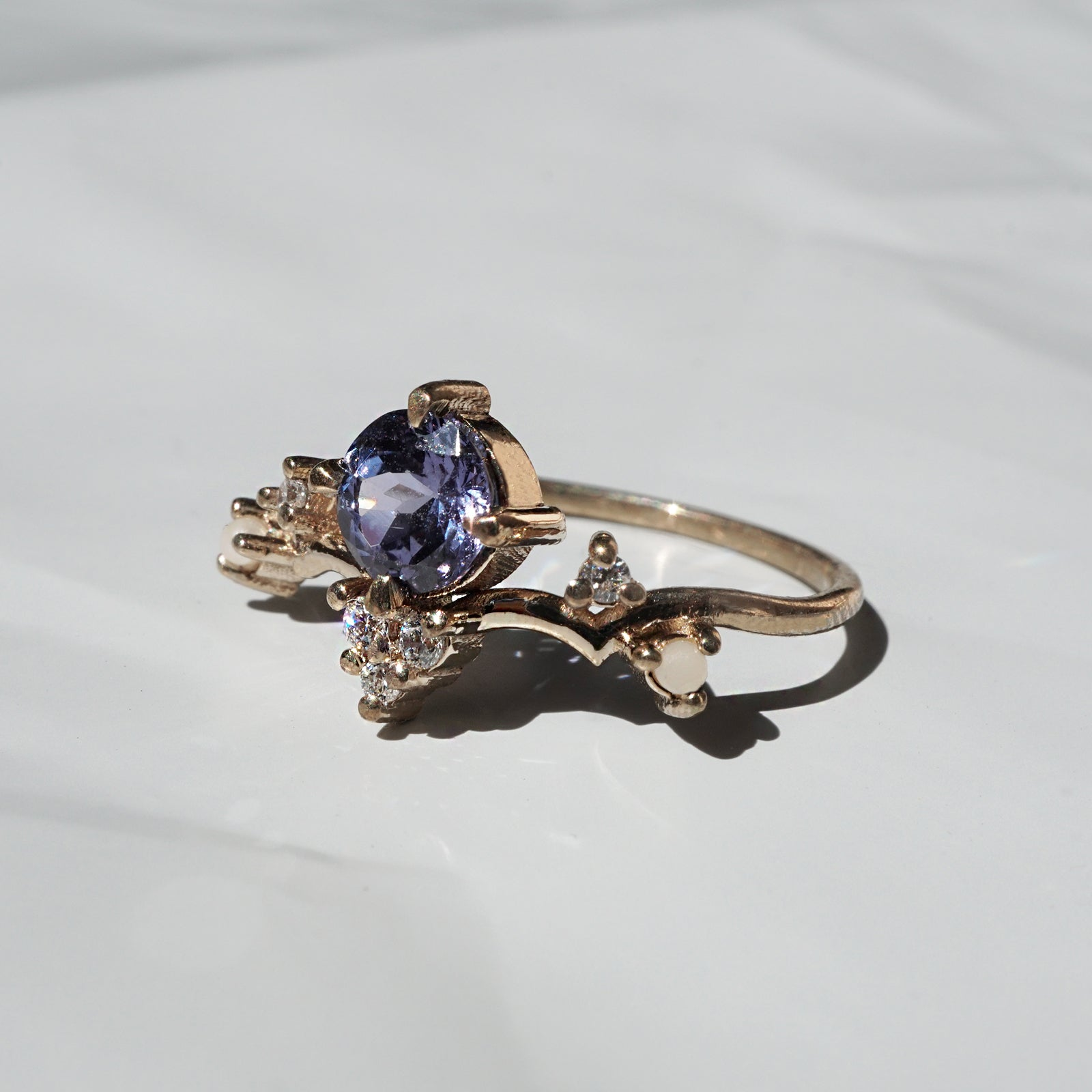 Tanzanite Ivy Diamond Pearl Ring