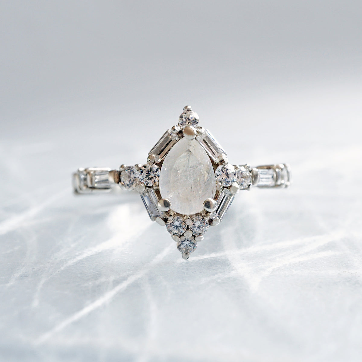 Selene Moonstone Diamond Ring - Tippy Taste Jewelry